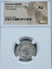 NGC AU Macrinus AR Denarius. 217-218 AD. Rome Mint.
