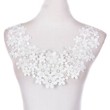 1PC Embroidered Floral Lace Neckline Neck Collar Trim Clothes Sewing Patch DSUK