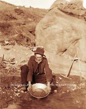 PROSPECTOR PANNING GOLD VINTAGE PHOTO PLACER MINING OLD WEST 1890 #21504