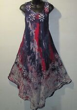 Dress Fits 1X 2X 3X 4X Plus Sundress Purple Red Blue Batik A Shaped NWT 7806 C-1