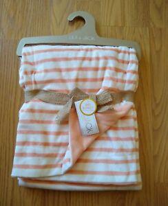 Lila & Jack Baby Blanket Coral Orange Stripes Infant Lovey Girls NEW NIP NWT