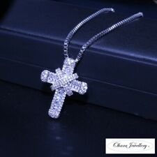925 Solid Sterling Silver Cross Cubic Zirconia CZ Pendant Necklace Jewellery