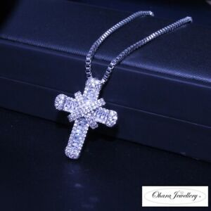 925 Solid Sterling Silver Filled Crystal CZ Cross Pendant Necklace Jewellery