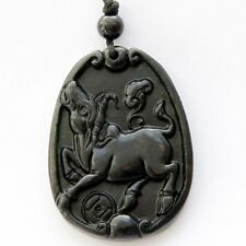 Lucky Chinese Zodiac Ox Coin Ruyi Amulet Black Green Jade Pendant