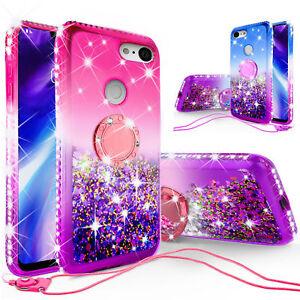 For APPLE SAMSUNG LG Case Rhinestone Glitter Bling Liquid Quicksand Cover