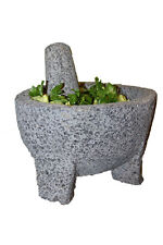 9 in Molcajete Authentic Mexican Basalt Lava Stone Mortar and Pestle Guacamole