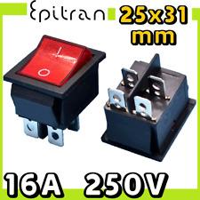 Interruttore bipolare 16A luminoso a bilanciere bilancere rosso 220V 220 volt