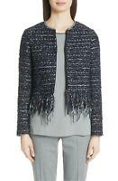* NWT Fabiana Filippi Fringe Trim Tweed Jacket, Sz 2 US / 38 IT, XXS Blue $1898