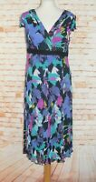 Per Una floral print dress size 14R cap sleeve flared midi crinkle blue/multi