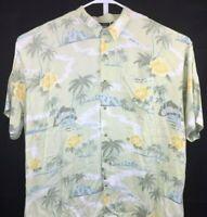 After Dark Mens 2XL Green Shirt Hawaiian Falcon Bay Short Sleeve Palm Island
