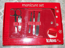 Totes for Her - Manicure Set w/ Red Snap Case - 5 Tools- Nib!