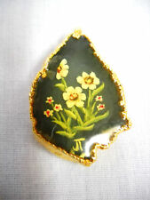ESTATE HALF JADE STONE HAND PAINTED FLORAL DESIGN DIPPED 14k PENDANT SIGNED JT