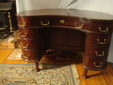 Antique Desk, Kidney Shape, Late Victorian 9 Drawers, 8 With Secret Compartments
