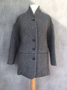 TOAST Coat Grey tweed wool chunky relaxed fit boxy boyfriend 10 12 2B