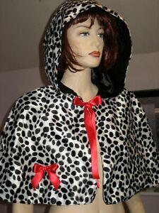 Dalmatian Cruella De Vil Hoodie black white Cloak Poncho Party Fancy Dress gift
