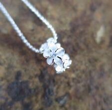 5 PLUMERIA CZ LEI BARREL Hawaiian 925 Sterling Silver Pendant Necklace #SP56901