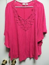 CATO Woman Fuschia Pullover Top w/Raised Design & Angel Wing Sleeves, sz 22/24W