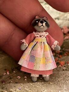 Vintage Miniature Dollhouse Artisan Sculpted Clay Girl Raccoon Dress 1:48 Italy