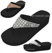 NEW Women's Sparkly Rhinestone Platform Thong Flip Flop Sandals Black 6 to 11