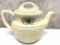 Vintage 1940s Porcelier Vitreous China Basket Weave Floral Tea Pot