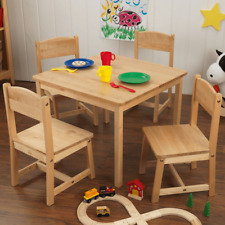 NEW KidKraft Farmhouse Table and 4 Chairs Natural Solid Wood Kids Desk 21421