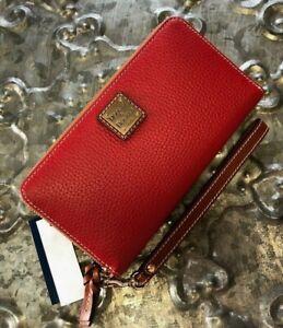 DOONEY & BOURKE~Large Zip Around Wallet Clutch Wristlet~Pebble Leather~RED~NWT!