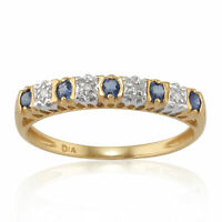 9ct Yellow Gold 0.24ct Natural Sapphire & Diamond Half Eternity Ring Size