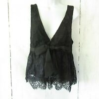 New $88 Free People Chante Lace Tank Top Black S Small V Neck Tie Front