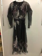 """New BCBG MAXAZRIA Embroidered Organza Midi Dress 2 Black Floral """"Sea of Life"""""""