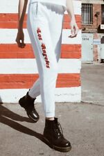 brandy melville white pull up Felicia Los Angeles flames sweatpants sz S
