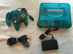 Ice Blue Clear Nintendo 64 With 1 controller wires plays US games & Japanese