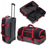 RED Wheeled Travel Luggage Trolley Holdall Suitcase Case Wheels Duffle Bag