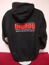 BIG DOG MOTORCYCLES L SWEATSHIRT HOODIE BLACK SIGNATURE LOGO  FRONT/BACK DESIGN