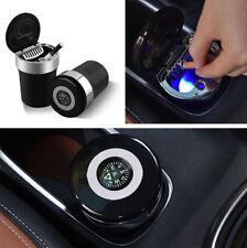 Auto Interior Black Aschenbecher mit Dichtung Cover Blaue LED-Anzeige + Kompass