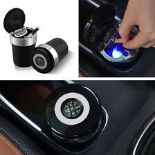 Auto Interior Black Aschenbecher mit Dichtung Cover Blaue LED-Anzeige+Kompass DE