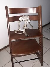 STOKKE TRIPP TRAPP CHERRY BROWN WOODEN BABY HIGH CHAIR WITH STRAPS !!!