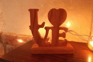 LOVE cutout for desk, mantle, shelf or table. Solid Oak- FREE SHIPPING