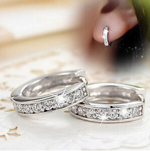 Women Silver Round Crystal Heart Hoop Ear Stud Earrings Wedding Bridal Jewelry