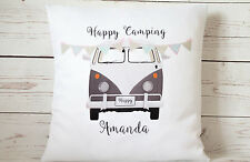 "Personalised grey VW Campervan - 16"" cushion cover shabby vintage chic"