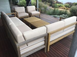 Teak modular Outdoor patio setting with washable cushions from Good LivingGlobal