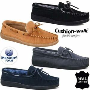 MENS GENUINE SUEDE LEATHER MOCCASIN SLIPPERS LOAFERS WARM LINED SHOES SIZES 6-12