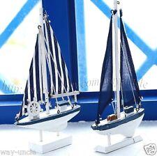 Blue Sailboat model 2pcs/Set model wooden handcraft boat model nautical decor