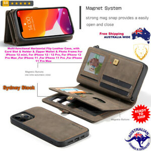 iPhone Flip Leather Case with Card Slot & Holder &Zipper Wallet Multi-functional