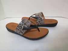 FitFlop Womens Delta Toe Thong Sandals Taupe Snake/Black K33-588 Women's Size 8
