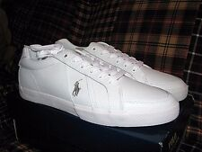 "Men's $75 POLO-RALPH LAUREN White Leather Sneakers/ Shoes (8.5) ""HUGH"""