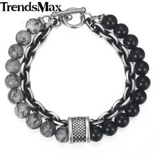 Cable Bracelet Chain Stainless Steel Black Glass Map Stone Bead For Men Women