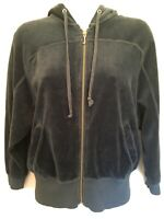 VTG Juicy Couture Navy Blue Velour Zip Front Track Jacket Size XS S 3/4 Sleeves