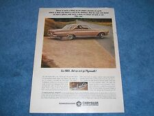 """1964 Plymouth Sport Fury Vintage Color Ad """"For 1964...Get Up and Go Plymouth!"""""""