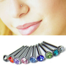10x Crystal Rhinestone Nose Ring Bone Stud Stainless Body Piercing Jewelry OH