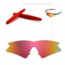 Walleva Fire Red Replacement Lenses+Earsocks For Oakley M Frame Sweep